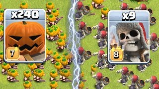 "GIANT SKELETON vs. PUMPKIN BARB!! "" Clash of clans "" Which troop is better?!?"