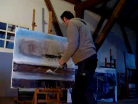Abstract landscape painting demo, acrylic, abstract landschap schilderen