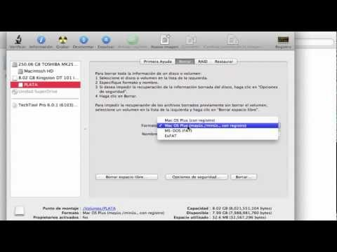 Mac OS Plus (con registro) Mac OS plus (mayús/minús) FAT formatos de MAC PARA USB