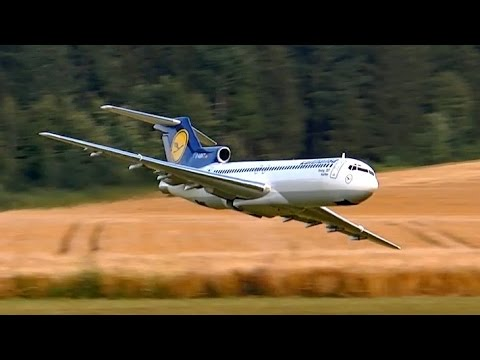 BOEING 727 GIANT RC AIRLINER MODEL TURBINE JET DEMO FLIGHT / RC Airshow Airliner Meeting 2015