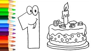 How to Draw and Color 1 Year Birthday Cake - colors for kids - learn colors / World of Eggs