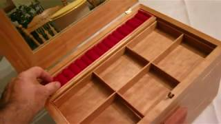 Cherry jewelry box with secret latch and hidden compartments