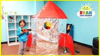 Giant Box Fort Rocket Ship with Ryan and Gus