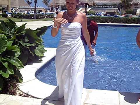 Newlyweds jump into pool