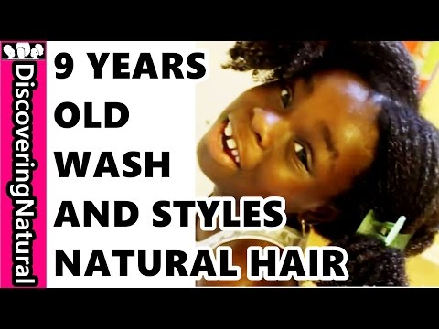 9 year old Washes and Styles Natural Hair Herself