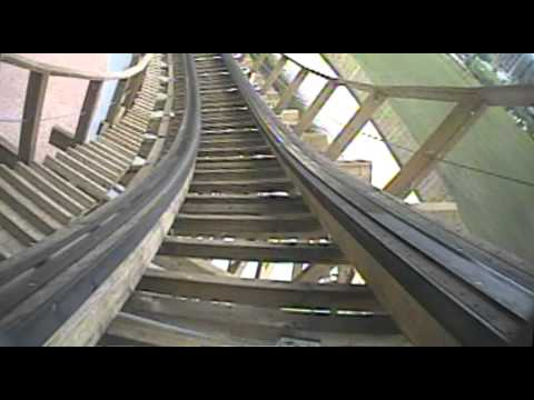 Troy Wooden Roller Coaster Front Seat POV Onride Great Coasters Toverland Netherlands