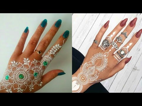 Awesome White Heena Mendhi Design