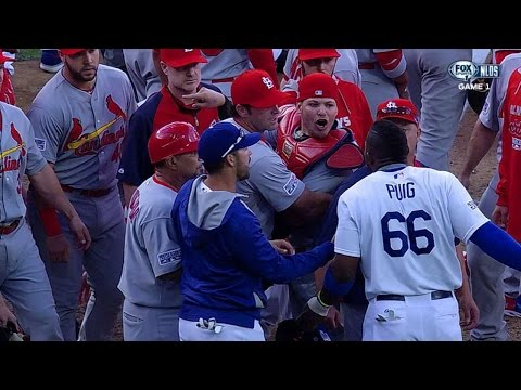 Puig plunked in 3rd, benches clear