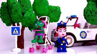 Superhero Babies 💕 Frozen Elsa and Cute little baby Hulk Play Doh Stop Motion and Cartoons For Kids