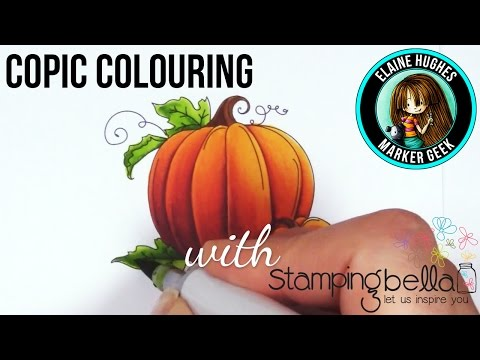 Copic Colouring a Pumpkin Stamp from Stamping Bella
