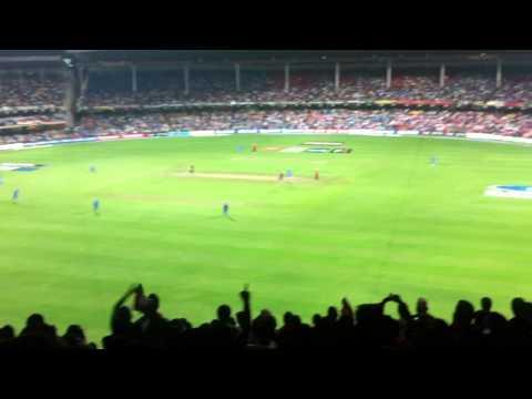 India v England 2011 World Cup - Group B. Bangalore. Zaheer Khan bowls Collingwood