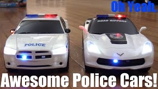 Toy Cars: 2 Awesome Police Car Toys with Lights, Sounds and Music! Dodge and Chevy Covette