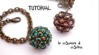 Tutorial Sfera Rivestita con Twin Beads / Superduo, Bicono e Perle Swarovski - Beaded Bead