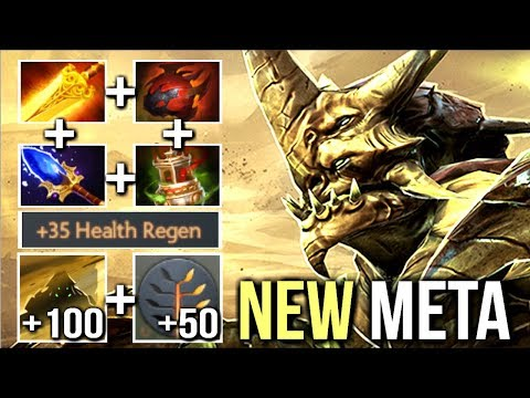 NEW META 215 DPS BURN +100 HP/s Regen Sand King Carry Raid Boss Build Dota 2