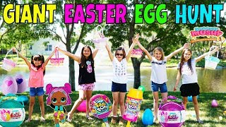 GIANT SURPRISE EASTER EGG HUNT with our Friends LOL Confetti Pop, Pikmi Pops, Hatchimals, Squishies