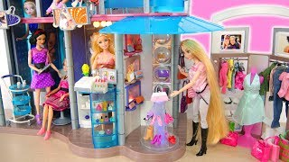 Amazing Barbie Doll Shopping Mall Set up! Pusat belanja boneka Barbie Puppe Einkaufszentrum