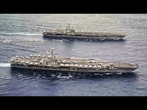 U.S. Aircraft Carriers Sail Side By Side