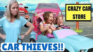 Crazy Car Store !!!  Addy and Maya are FAKE Thieves !!!