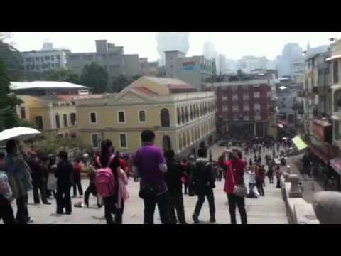 Mainland Chinese tourists at Saint Paul's Ruins Macao