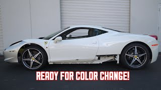My WRECKED Ferrari 458 gets Bondo work and ready for Color!