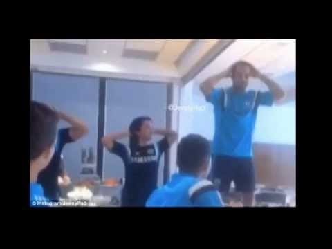 Diego Costa and Cesc Fabregas show off their dancing skills as initiation songs