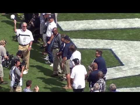 The Penn State 1973 Football Team gets introduced during halftime, September 7, 2013.