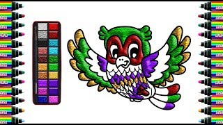 How to draw a owl for children   Drawing and coloring for Kids   bé yêu