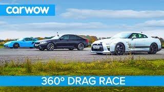 Nissan GT-R vs Porsche 911 Turbo vs BMW M5 Comp - 360° DRAG & ROLLING RACE