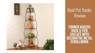Pot Rack Review - Corner Bakers Rack 5-Tier Shelves with Decorative Metal Scrollwork