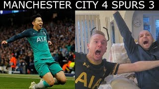 손흥민: HEUNG MIN SON SCORES IN 4-3 RESULT AS SPURS KNOCKOUT MAN CITY IN THE CHAMPIONS LEAGUE!! SCENES!