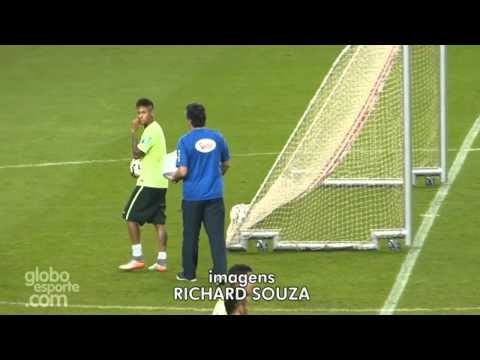 Neymar scores from behind the goal in Brazil training 2015