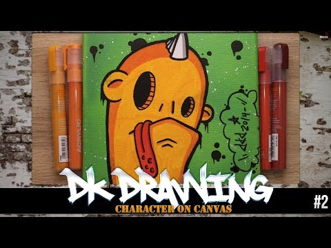 How to draw a graffiti character on canvas #2