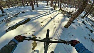 Mountain biking in the snow - snowy trails - gopro POV [ MTB XC / ENDURO ] -subtitled-