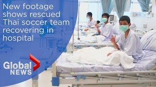 Thailand cave rescue: Boys seen recovering in hospital in new video