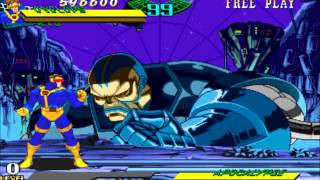 Marvel Super Heroes vs Street Fighter(Arcade)-Cyclops/Ryu Playthrough