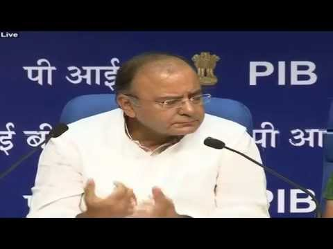 Finance Minister Shri Arun Jaitley addressing a Press Conference
