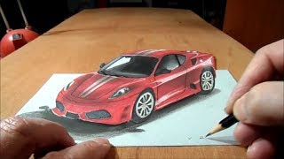 How to Draw 3D car,  Drawing Ferrari Car, 3D Trick Art Graphic