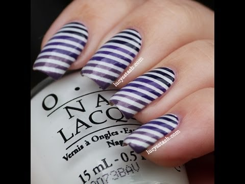 How to do a striping tape manicure - Purple striped manicure tutorial