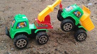 Xe buýt 2 tầng và bộ đồ chơi xe công trình, (Two-tier bus and toy car works)