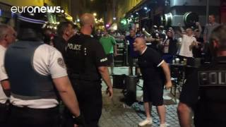 Punches & chair throwing as French & English fans clash