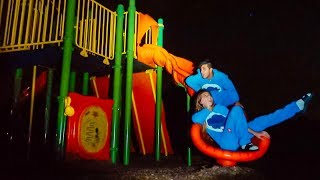SPENDING THE NIGHT ON A PLAYGROUND! (crazy)