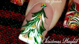 Just A Christmas Tree in Drag | No water Marble Nail Art Design Tutorial!