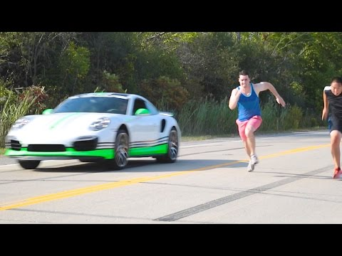 Human Vs Porsche Turbo S Drag Race!