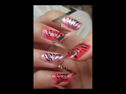(2NE1) Bom's Pink with black stripes Inspired Nail Art Tutorial