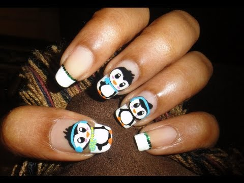 ▶ Cute Penguin Nail Art hd