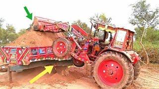 Powerful Belarus MTZ 510 Power show against  hydraulic shovel and dumper