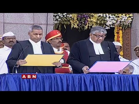 Telangana High Court Chief Justice Radhakrishnan and Judeges Swearing-in Ceremony  | ABN Telugu