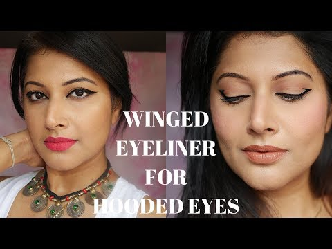 AN AMAZING WINGED EYELINER TECHNIQUE FOR HOODED EYES - 10 STEPS SHARP WINGED LINER TUTORIAL 2018