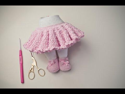Как связать кукле крючком юбку