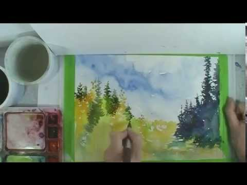 Paint a Pine Forest in Watercolor start to finish